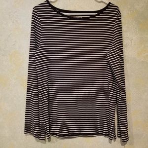 Talbots Stretch Navy and White Weekend Tee NWT LRG